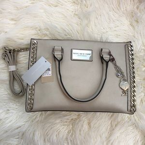 NWT ANDREW MARC NEW YORK gray leather chain purse